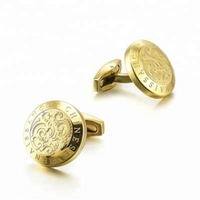 18K Gold Plated Engaved Letter Monogrammed Cufflinks