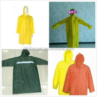 OEM long yellow PVC raincoat /Polyester rain poncho with sleeves and hood
