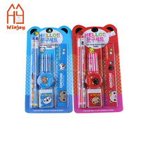 China custom cute school stationery set for kids 7inch wood color pencil