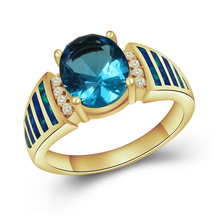 Gold plated antique opal diamond blue zircon engagement rings