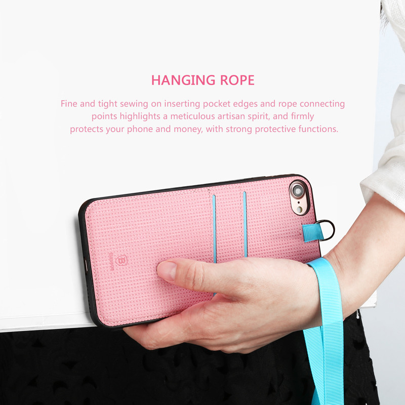 Original Baseus Lang Series Sleeve Case For iPhone 7 Back Cover Leather Case With Card Holder Hanging Rope 4.7 inch Mobile Phone