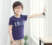 Dark blue 100% cotton short sleeve kids tshirt