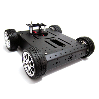 4WD Rubber Wheel Aluminum Mobile Car Chassis Robotic Car Platform (Black)