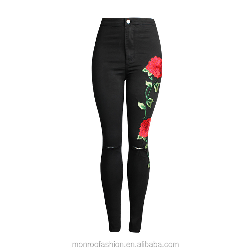 monroo Embroidery Rose Ripped Hole Jeans Women 2017 Plus Size Flower Floral Denim Pencil Pants Lady Vintage Black Skinny Jeans