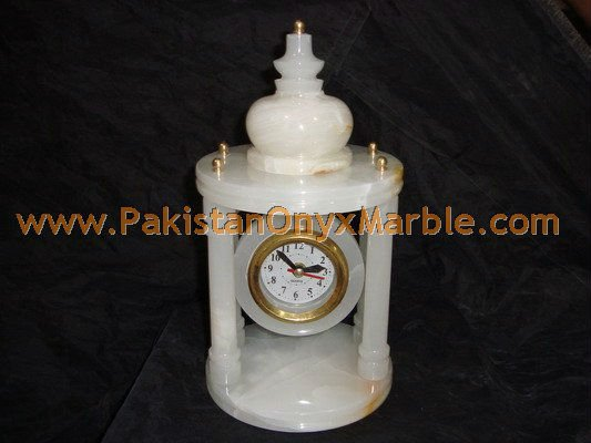 DECORATIVE PURE WHITE ONYX TABLE CLOCKS