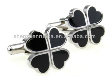 Wholesale Stainless steel with black Epoxy 17*17mm size four leaf clover shape men's cufflinks and studs jewellery accesories