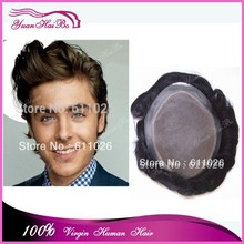 "super quality unprocessed European human hair super thin skin toupee men's silicone wig color#1b 6""x8"" 7""x9"" 8""x10"""