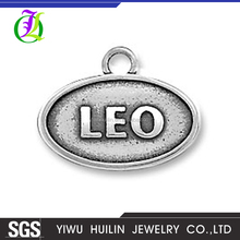 CN186742 Yiwu Huilin jewelry Letter charms oval silver plated jewelery Leo Zodiac Sign Pendants