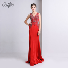 Caijia 2017 Red Elegant Beaded V-Neck Sleeveless Prom Dress Evening Dress Long Mermaid Evening Dress