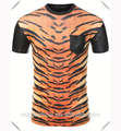 High quality Most stylish Tiger Sublimation Short Sleeve T-Shirt with leather sleeve and pocket