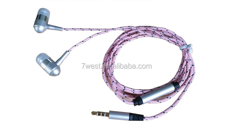 Colorful Top quality braided fabric cord earphone for phones