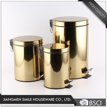 Round stainless steel soft close trash can, gold waste bins