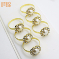New product Pearl Gold Napkin Ring Serviette Holder Wedding Party Dinner Table Decor