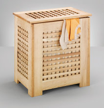 gird solid wood oiled walnut storage laundry basket with cotton bag