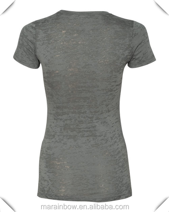 Women's Round Neck Burnout T Shirt Gray 65% Cotton 35% Polyester Slim Fit Workout Shirts Gym wear Wholesale Fitness Clothing