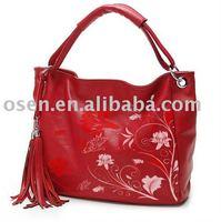 Painted 100 genuine leather handbag