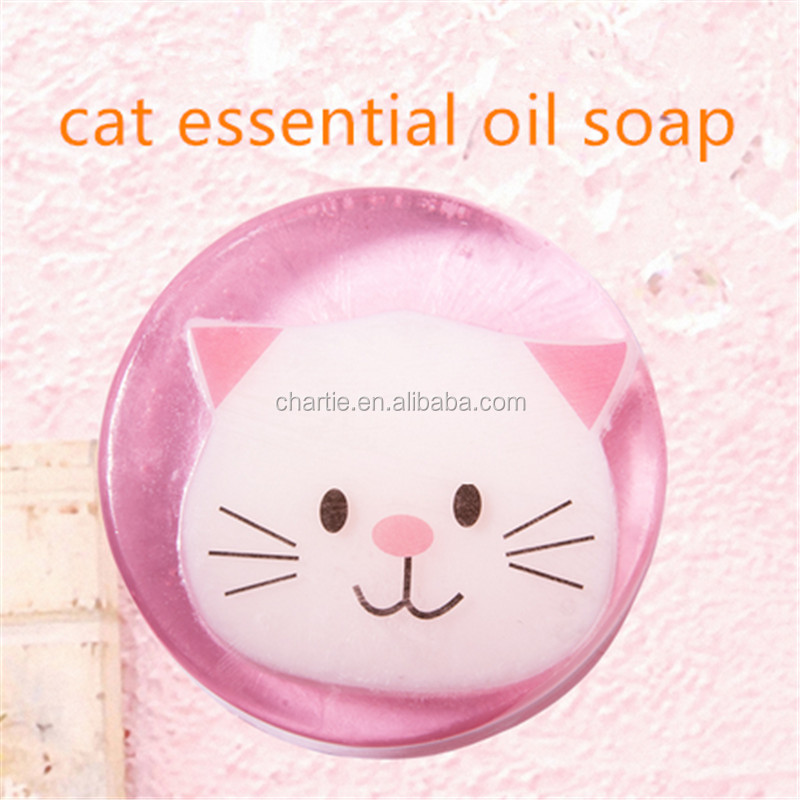 cartoon cat essential oil soap Deep cleansing moisturizing hand made soap OEM