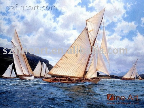 Oil painting sailboats and ocean waves home decoration