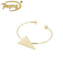 handicraft geometry 18k gold kada bangle bracelet stainless steel slim wire open blank cuff bangle bracelet