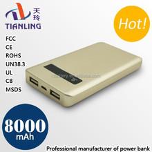 Manufactory wholesale 8000mAh with screen display gold portable power bank
