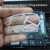 Custom white printed transparent static cling stickers for car window windshield stickers