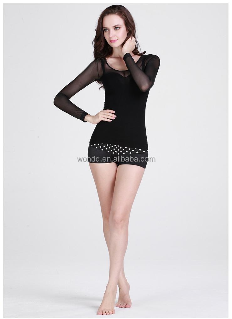 Thin Seamless Women Nylon Clothing Ladies Net Fabric Tops