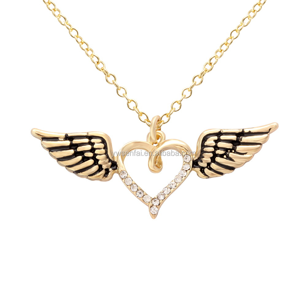 Personalized Gold Plating Angel Winged Heart Necklace for Women