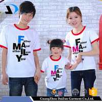 China factory custom cotton/polyester pattern father and mother family t shirts