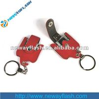Custom shape mini leather 8gb usb flash drive keychain