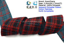3.5cm(W) Gorsgrain Woven Tartan Ribbon Polyester Grid & Twill Fabric in Red and Black Wholesales