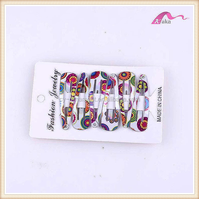 Fashion boho printing metal hair clip for young women baby girl hair tick tack clip accessory
