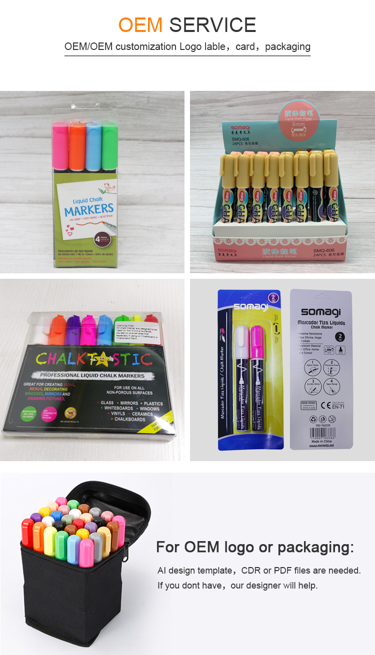 Wholesale 8 colors 6 mm reversible dual tip window liquid chalk marker pens