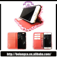 hot selling wallet case for iphone 5,crown pouch ladies wallet case with many card slots for note 3 leather phone case