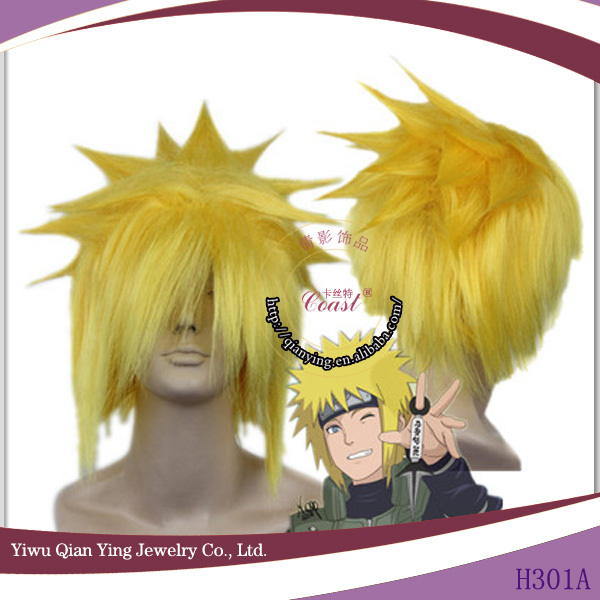 yellow synthetic Naruto Uzumaki Naruto cosplay hair wig