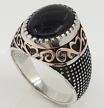 Turkish Sterling Silver Fashion Onyx Ring For Men