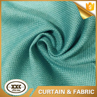 Green plain 100% polyester faux linen fabric for curtain