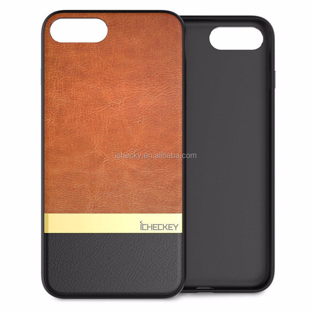 Shenzhen Factory Wholesale 100% Cow Real Genuine Leather Cover Phone Case for IPhone 7 Plus