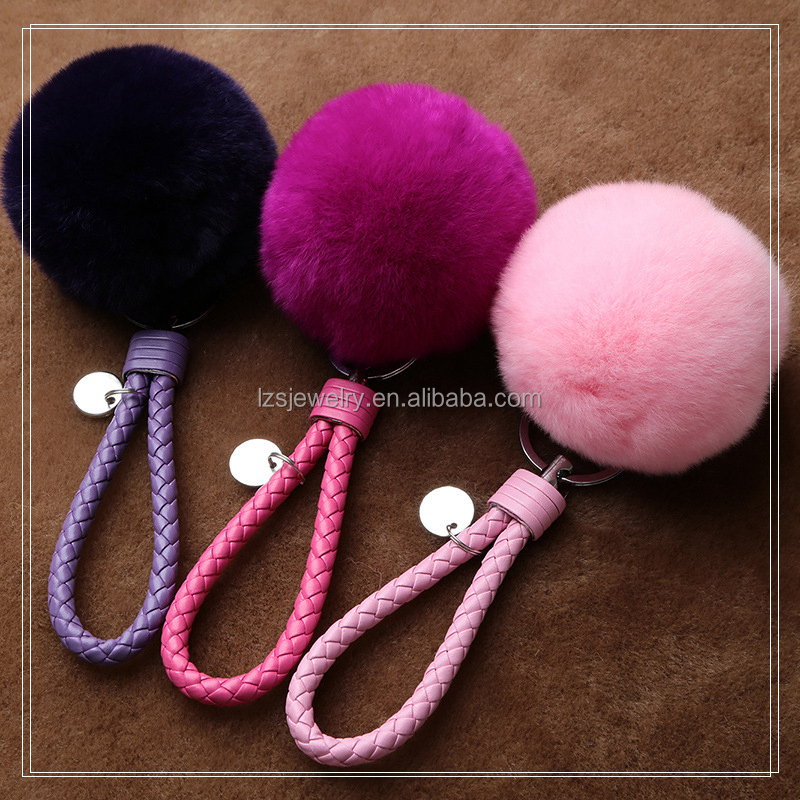 Stylish Keychain Leather Rope Keychain Pom Pom Keychain Rabbit Fur Ball Pompom Key Chain Keyrings