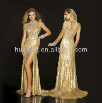 Newest Fashion Dress 2014 With Long Sleeve Sequins Beaded