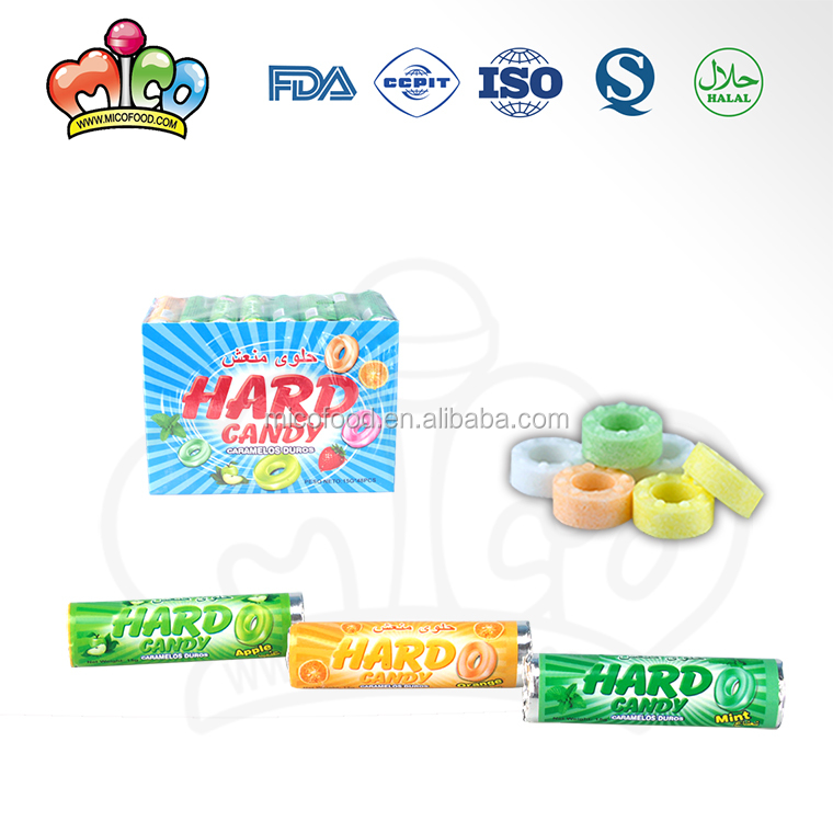 Colorful ring shaped hard press candy