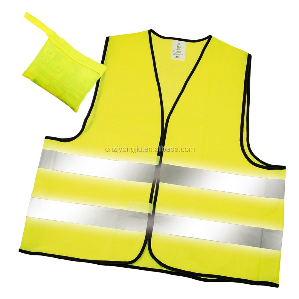 new stye high visibility standardized knitted fabric safety vest with reflective tape and EN 20471 certificate