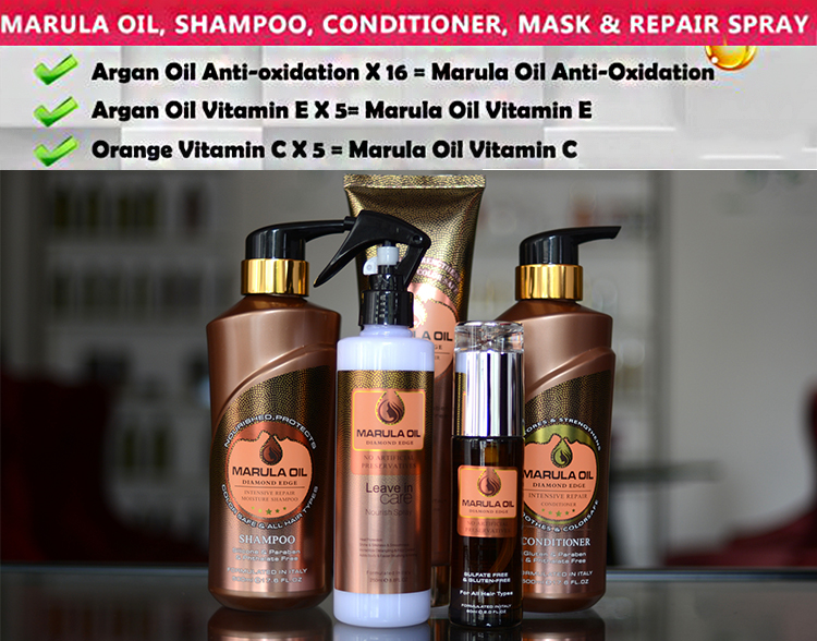 GMP certificate ingredient popular organic marula oil hair care smoothing shiny shampoo hair conditioner
