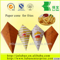 beautiful paper cone for fries or chips with sauce container or holder