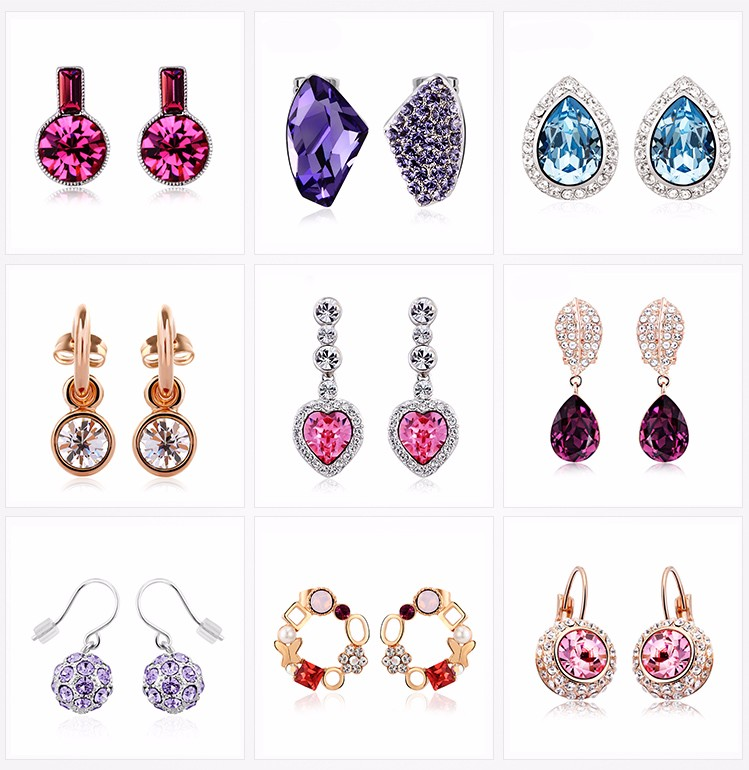 Wholesale Fashion Jewelry 925 Silver Hook Amethyst Drop Earrings Round CZ Earrings Women