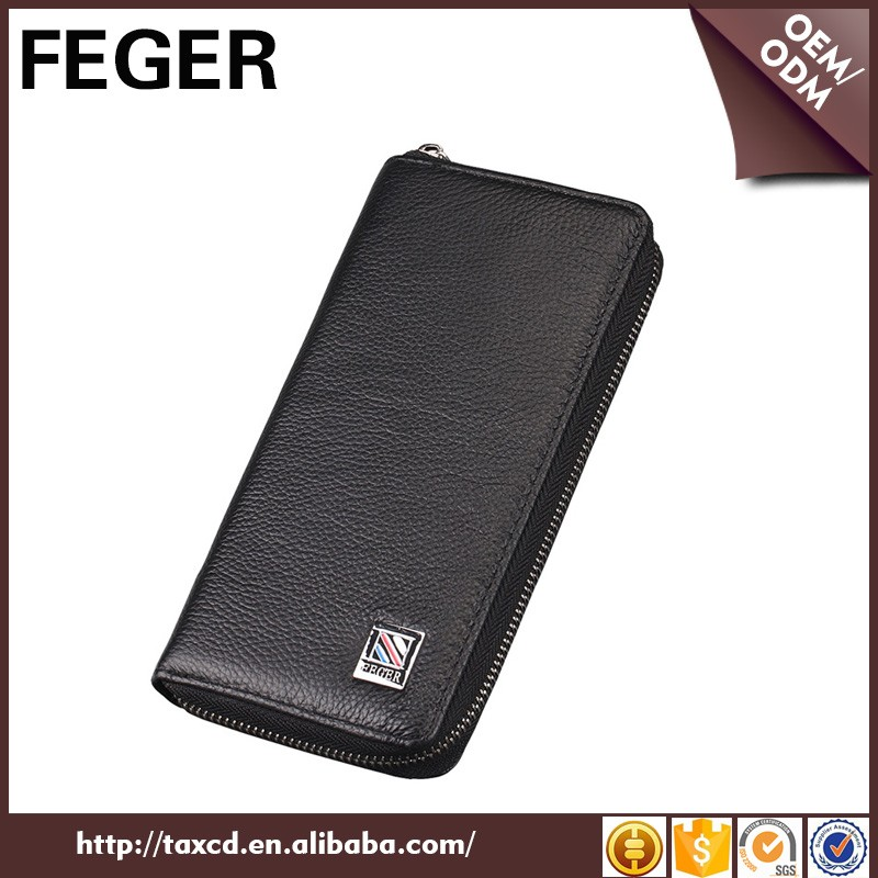 Wholesale FEGER men's PU long wallet with zipper