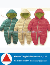 kids clothing winter long sleeve thermal zip down jacket baby romper suit