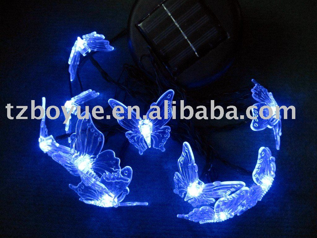 solar led holiday light string with butterfly