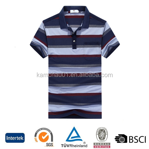 Newest design rib collar organic cotton 200 gram striped printing US men polo t shirt with pockets