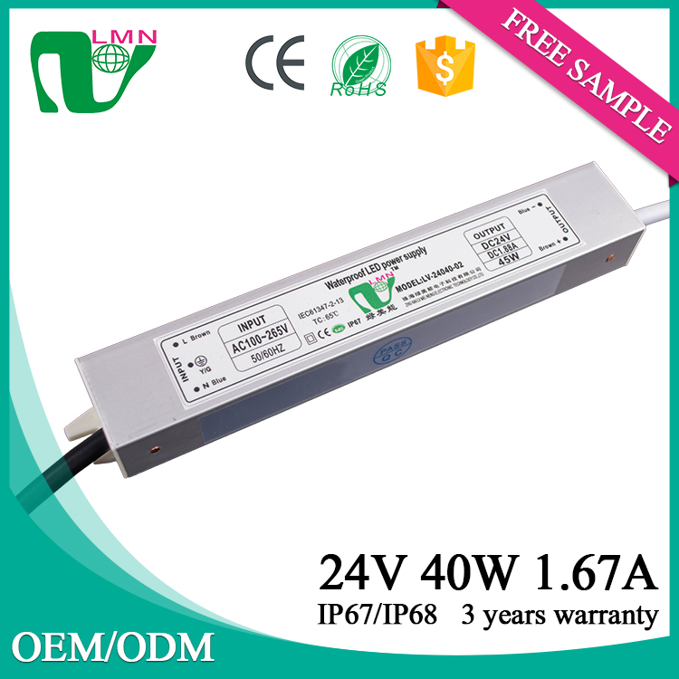 24V 40W waterproof slim led power supply ip 67