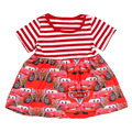 Short Sleeve Red Children Frocks Designs Elegant Summer Dresses Knitted Cotton Ruffles Baby Girls Dresses